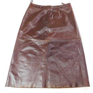 GAP Brown Knee Length Leather Skirt Size 8